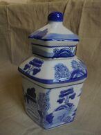 Vintage - Petite Urne Hexagonale - Vase à Couvercle Bleu Et Blanc - Années 80 - Autres