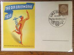 """III. Reich, Propaganda  Karte, """"  Tag Der Briefmarke 1939 """" Stempel LINZ / DONAU - Weltkrieg 1939-45"""