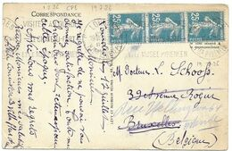 TIMBRE N° 140 II B -  BANDE DE 3   -  TARIF  DU 1 08 1926 =>  BELGIQUE    - 1926 - Postal Rates