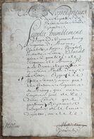 1730 Manuscrit Conflit  La Fille Du Roi Louis XIV Anne De Bourbon Princesse De Conti Et De Cronenbourg Seigneur De Broin - Manuscripts