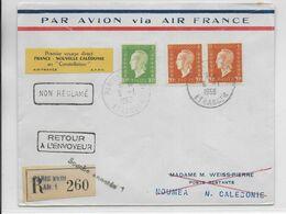 """1953 - ENVELOPPE 1° VOL AERIEN DIRECT FRANCE NOUVELLE CALEDONIE En """"CONSTELLATION"""" AIR FRANCE De PARIS => NOUMEA - 1927-1959 Lettres & Documents"""