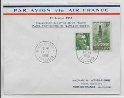 1953 - ENVELOPPE 1° VOL AERIEN REGULIER FRANCE / MARTINIQUE / CARACAS / BOGOTA AIR FRANCE De PARIS => FORT DE FRANCE - 1927-1959 Brieven & Documenten