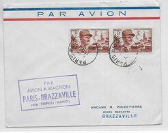 1953 - ENVELOPPE 1° VOL Par AVION à REACTION De PARIS => BRAZZAVILLE (AEF) Via TRIPOLI Et KANO - 1927-1959 Brieven & Documenten