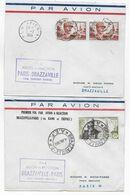 1953 - ENVELOPPES 1° VOL Par AVION à REACTION De PARIS => BRAZZAVILLE (AEF) ALLER ET RETOUR ! - 1927-1959 Brieven & Documenten
