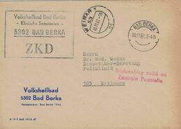 ZKD Volksheilbad Bad Berka 5302 - 1967 Briefumschlag Zurück An Zentrale Poststelle! - An Diabetiker-Beratung Rathenow - Medizin