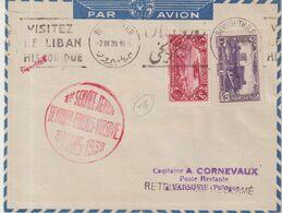"LIBAN : PA . 1er SERVICE AERIEN "" BEYROUTH - ATHENES - VARSOVIE "" . 30 MARS 1939 . - Líbano"