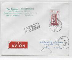 1956 - ENVELOPPE 1° SERVICE AERIEN POSTAL DIRECT De PARIS => MEKNES (MAROC) - 1927-1959 Brieven & Documenten