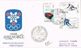 37539. Carta Certificada BARCELONA 1968. Deporte Juegos Olimpicos Invierno GRENOBLE 68 - 1931-Aujourd'hui: II. République - ....Juan Carlos I