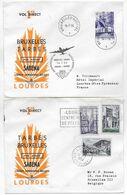 1954 - ENVELOPPES 1° LIAISON DIRECTE Par SABENA De TARBES / LOURDES => BRUXELLES ALLER ET RETOUR - 1927-1959 Brieven & Documenten