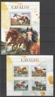 ST2638 2016 MOZAMBIQUE MOCAMBIQUE ANIMALS HORSES 1KB+1BL MNH - Cavalli