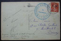 Strasbourg 2eme Régiment D'aviation (chasse) 1922, Timbre Semeuse F.M, Sur Carte Pour Montreuil - Marcofilie (Brieven)