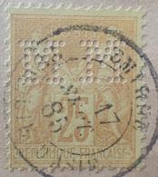 "R1286/361 - SAGE TYPE II N°92 (sur Fragment) - CàD De SMYRNE (TURQUIE D'D'ASIE) Du 17 SEPT. 1885 - Perforation "" M M "" - 1876-1898 Sage (Type II)"
