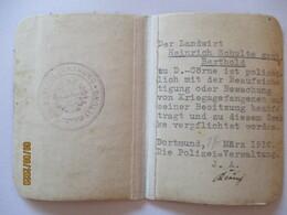 Kriegsgefangene Dortmund 1916, Ausweiß Für Landwirt (20695) - Weltkrieg 1914-18