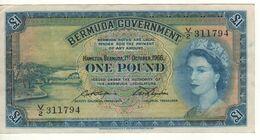 BERMUDA 1 Pound    Queen Elizabeth II  P20d    Dated 1st October 1966 - Bermudas
