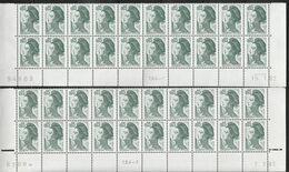 2178 0.05f VERT-NOIR LIBERTE De GANDON - 4 BAS De FEUILLES  De 20 - Voir Description - 1982-90 Liberty Of Gandon