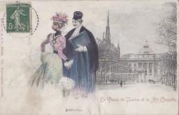 Paris 75 - Palais De Justice Et Sainte-Chapelle - Femme Et Avocat - Illustrateur Abeillé - Oblitération Carquefou 1905 - Arrondissement: 01