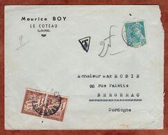Brief, Merkurkopf, Timbres Taxe Portomarken, Le Cateau Nach Bergerac 1943 (97121) - 1859-1955 Covers & Documents