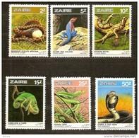 Zaire 1987 OBCn° 1317-22 *** MNH  Cote 6 Euro Faune Reptiles Slangen Snakes - 1980-89: Mint/hinged