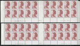 2179  0.10f. ROUGE BRUN LIBERTE De GANDON - 4 BAS De FEUILLES De 20 AVEC PONT - Papier Neutre Aux U.V - Voir Description - 1982-90 Liberty Of Gandon