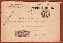 Brief, Timbres Taxe Portomarken, Versailles Nach Etampes 1942 (97128) - 1859-1955 Covers & Documents
