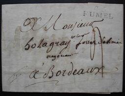 Puy-L'Evêque Lot 1819 Lettre Avec Marque De Fumel Lot-et-Garonne 45/ FUMEL  Pour Bordeaux - Marcofilie (Brieven)