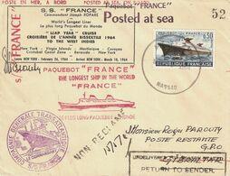 Paquebot FRANCE. Croisière E L'année Bissextile 1964. Timbre Obl. NASSAU (Bahamas) - 1961-....