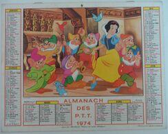 Almanach Des PTT 1974 Walt Disney Blanche Neige Petits Cochons - Big : 1971-80