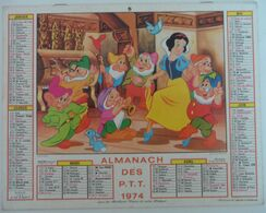 Almanach Des PTT 1974 Walt Disney Blanche Neige Petits Cochons - Tamaño Grande : 1971-80