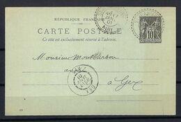 FRANCE 1901: CP Entier De 10c. De St Jean-de-Gonville (Ain) Pour Gex Avec Superbes CAD Dont 2 Sont En Tiretés - Cartas