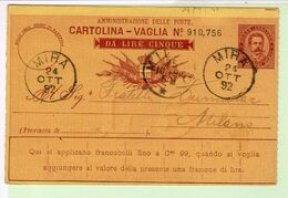 Cartolina Vaglia 1890 Cent. 10 Lire 5 Viaggiata 1892 Milano Mira Veneto Venezia - 1878-00 Umberto I