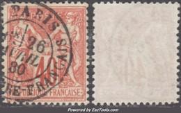 40c Sage Type I (N/B) Oblitéré TB Belle Oblitération Centrale (Y&T N° 70, Cote +++€) - 1876-1878 Sage (Type I)