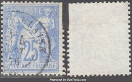 25c Sage Outremer Type I (N/B) Oblitéré (Y&T N° 68, Cote 90€) - 1876-1878 Sage (Type I)