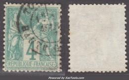 4c Sage Vert Type I (N/B) Oblitéré Aspect TB (Y&T N° 63, Cote  100€) - 1876-1878 Sage (Type I)