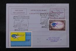 BELGIQUE - Aérogramme De Bruxelles En 1972 Avec Vignette Belgica 1972 , Oblitération Sur Le Concorde  - L 71224 - Stamped Stationery