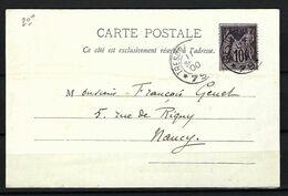 """FRANCE 1900: CP Illustrée De Vaucouleurs Pour Nancy Avec Le Y&T 89, Obl. CAD ''Trésor Et Poste 79"""" - Cartas"""