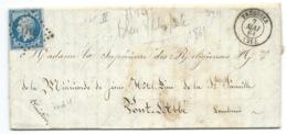 N° 14 BLEU NAPOLEON SUR LETTRE / TREGUIER POUR PONT L'ABEE / 7 MAI 1861 IND 4 - Postmark Collection (Covers)