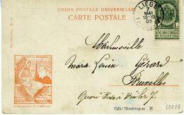 Belgique N° 53  Oblitération  LIEGE   EXPOSITION  (Rare) Sur Carte - 1894-1896 Exhibitions