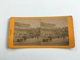 1890 1900 Ancienne Carte Stéréoscopique ROME ROMA Animée 19 ème Siècle Intérieur Du Colisée Coliseum - Kolosseum