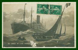 Cp Photo - Au Large De L'île Vierge - Le Pilote - Rencontre Entre Un Paquebot Et Un Voilier - Edit. NEMO - 1909 - Vari