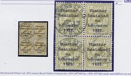 Ireland 1922 Thom Rialtas Black Overprint 1s Bistre-brown Block Of 4 Used Cds JAMES'S ST. B.O. DUBLIN 6 JY 22 - 1922 Governo Provvisorio