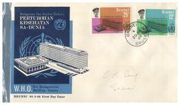 (M 7) FDC From Brunei  - Premier Jour De Brunie - 1966 (W.H.O) - Brunei (1984-...)