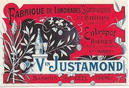 Fabrique De Limonades Supérieures Et Sirops Assortis - Entrepôt De Bières  - Vin JUSTAMOND - BAGNOLS SUR CEZE (GARD) - Etiquetas