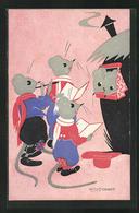 Künstler-AK Willy Schermele: Mäuse Singen Ein Lied - Schermele, Willy