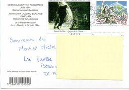 Timbre N° 3656 Sur CP + Vignette Débarquement Normandie Juin 1944 - Marcofilie (Brieven)