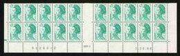 FRANCE - YT 2181 ** - LIBERTE - BAS DE FEUILLE 20 TIMBRES COIN DATE - 1982-90 Liberté (Gandon)