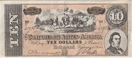 Billet - Confédérate States Of America 10 Dollars  1864 - Valuta Van De Bondsstaat (1861-1864)