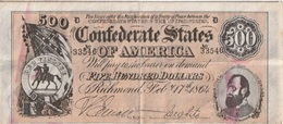 Billet - Confédérate States Of America 500 Dollars  1864 - Valuta Della Confederazione (1861-1864)