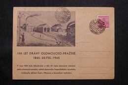 TCHÉCOSLOVAQUIE - Enveloppe Du Centenaire De La Ligne De Chemin De Fer Olomousko / Prague En 1945  - L 71266 - Cartas