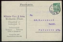 18824 DR Infla Werbe Karte Plum Düsseldorf - Pulsnitz 1923, Bedarfserhaltung. - Brieven En Documenten
