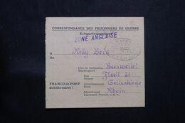 FRANCE / ALLEMAGNE - Formulaire De Camp De Prisonniers Allemand De Dannes En France Pour  Baesweiler - L 71283 - 2. Weltkrieg 1939-1945